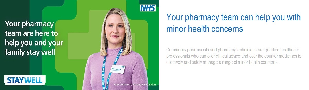 Your pharmacy team are here to help you and your family stay well Your pharmacy team can help you with minor health concerns Community pharmacists and pharmacy technicians are qualified healthcare professionals who can offer clinical advice and over the counter medicines to effectively and safely manage a range of minor health concerns.